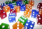 10 x Sharp Edged Six Sided Translucent Dice 19mm Casino Craps FREE SHIPPING
