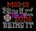 BASEBALL - Moms Bling It - Sons Bring It - Rhinestone Iron on Transfer Mom