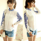Retro Women Long Sleeve Blue And White Porcelain Print Chiffon Tops Shirt Blouse