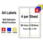 Address Labels White A4 Sheets Sticky Self Adhesive for Inkjet / Laser Printer <br/> High quality UK made Prepacked in boxes of 100 sheets