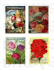 Vintage Seed Packet Collage    Fabric Blocks  14-0197