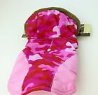 """DOG COAT WITH HOOD SIZE XXS PINK CAMO COLOR FITS 6-8""""  GIRL/FEMALE PET SUPPLY"""