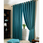 Teal Jacquard Curtains - Fully Lined Faux Silk Ready Made Eyelet Curtain