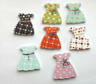 Dress Shaped Buttons Wooden - Green, Red, Blue, Pink and Black with dots 5/10/50