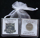 PERSONALISED LUCKY SIXPENCE GRADUATION KEEPSAKE GIFT CLASS GOOD LUCK 6 DESIGNS