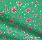 Christmas Trees Fabric Green with red & pattern.metres,F/Q or square 100% cotton