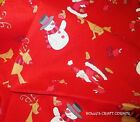 Christmas Fabric Red Santa & Rudolph & Snowman 100% cotton Quilting, bunting