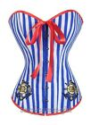 Blue White Stripe Sailor Girl Costume Corset top Bustier Size S-6XL SCG A2372