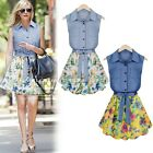 ItS7 Women Casual Denim Jean Shirt Dress Belted Splicing Floral Tiered Dresses