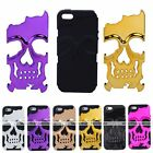 3D Hybrid Hard Skull Skeleton Soft Silicone Cover Case Fit For Apple iPhone 5 5S