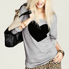 Chic Women's Love Heart Printed Crewneck Long Sleeve T-Shirts Casual Blouse Tops