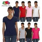 Fruit of the Loom Women's 5 oz 100% Heavy Cotton HD V Neck T-Shirt ML39VR