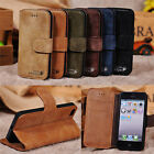 Retro Leather Genuine Cowhide Stand Cover Skin Flip Shell Wallet Case For iPhone