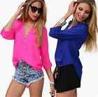 Hot Trendy Women Foldable Sleeve Casual V-Neck Chiffon Shirt Tops Loose Blouse