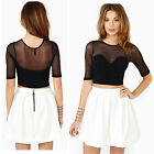 Chic Women Casual Loose Blouse Crop Tops T-shirt Lady Cut Out Short Sleeve Shirt