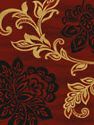 CASUAL  red BURGUNDY black LARGE scale FLORAL leaves LOTUS transitional AREA rug