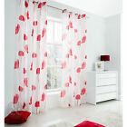 Poppy Fully Lined Voile Curtains – Floral Eyelet Slot Top Red Voile Curtain Pair