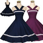 Vintage Dancing Party Swing Jive Rockabilly Prom Dress Skirt 50s 60s Blue Cotton