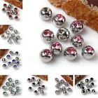 10pc Rhinestone Crystal Steel Ball Cap For Lip Eyebrow Tongue Ear Ring Accessory