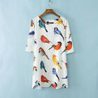 2014 New Women Lady Fashion Painted Bird Printed 3/4 Sleeve Loose Party Dress