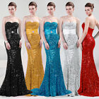 Sexy Mermaid Full Sequins Formal Prom Evening Party Bridesmaid Long Ball Dresses