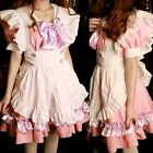 Vintage Gothic Lolita Pink Satin Japanese Cosplay Fancy Dress Costume @VC1004