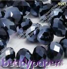 40 - 80 Glass Beads Abacus 10 mm Suncatcher Faceted Black Jewellery Making 6017