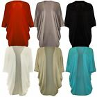 New Ladies Plus Size ¾ Batwing Sleeve Long Knit Cardigan Top 16-26