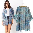New Vintage Blue Womens Casual Chiffon Tops Kimono Coat Cape Blazer Jacket S M L