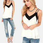 New Loose Women Chiffon Blouse Spaghetti Strap Black White Splicing V Neck Shirt