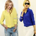 Fashion Lapel Collar Button Chiffon Long Sleeve Shirt Top Loose Blouse New N98B