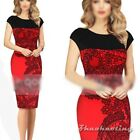 Women Celeb Style Floral Print Splicing Evening Party Cocktail Sexy Pencil Dress