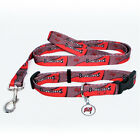 NEW TAMPA BAY BUCCANEERS PET SET ADJUSTABLE DOG COLLAR LEASH & ID TAG ALL SIZES $21.95 USD on eBay