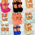 Women Suede Bow Coral Pink Summer Platform Wedges High Heels Shoes Size 4-9