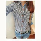 97k LAPEL WILD SIMPLE FRESH  COLLEGE WIND DENIM STITCHING PLAID SHIRT
