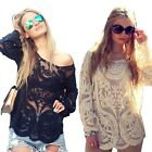 Womens Lace Dentelle Crochet Semi Sexy Sheer Embroidery Floral T Shirt Tops J