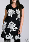 Marina Kaneva New Plus Size Black Contrast Tunic in Monochrome Floral Print