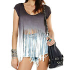 Fashion Women Gradient Color Tops Dip Dyeing Laser Cutting Sweep Tassel T-Shirt