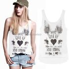 2014 Womens Wing Letter Heart Sleeveless Tank Top Cami T-Shirt Vest Blouse ItS7