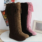 Fashion New womens tassel style lace up wearable calf high low heel boots