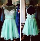 Beaded Mint Cocktail Prom Formal Gown Short Homecoming Bridesmaid Dresses Custom