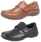 Mens Leather Lined Smart Casual Velcro Shoes Black or Brown Size 7 8 9 10 11 12