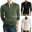 Mens Slim Fit V-neck T-shirt Long Sleeve Henley Tee Shirt Tops M L XL XXL N98B