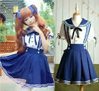 Lolita Sailor Dress Tops+Skirt Navy Marine Uniform Kawaii School Girl Set New