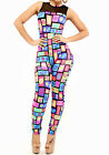 Sexy Womens Zipper Colorful Kiss Lip Print Bodycon Sleeveless Rompers Jumpsuits