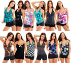 BELLY OFF! PUSH UP! TANKINI WITH COLOUR SELECTABLE HOTPANTS SWIMSUIT Size 38-48