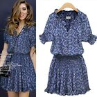 top fashion  Retro Flower Print Sexy Women Short Sleeve Slim Chiffon Mini Dress