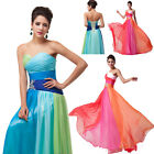 2014 Vogue Bridesmaid Colorful Chiffon Ball Gown Prom Party Formal Evening Dress
