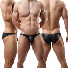 Fashion Sexy  Men's Underwear Faux Stretchy Leather Boxer Briefs Underpants#C3