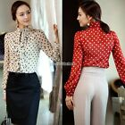 Fashion Polka Dot Womens Ruffles Collar Button Down Shirt Blouse Top Casual New
